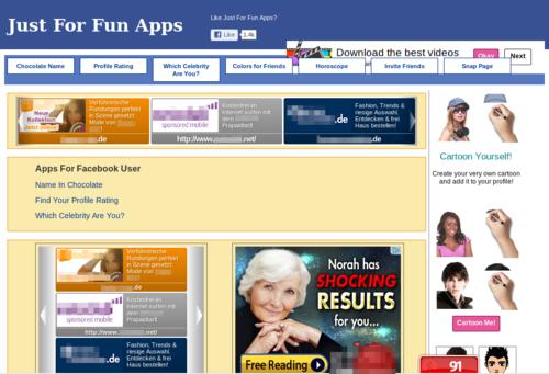 Screenshot of the target website for German visitors