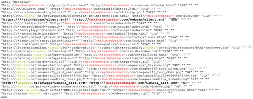 Screenshot of code: Code: webfakes configuration file