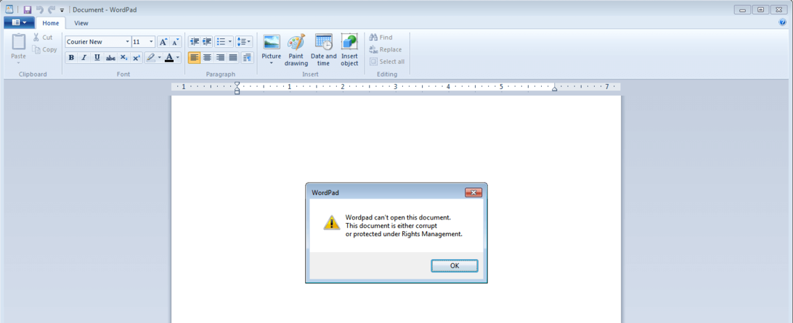 Screenshot of the corrupt Word document used in Spora infection