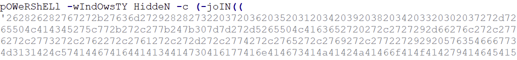 Figure 6: First PowerShell script (parameter and partially encrypted code)