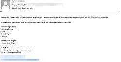 Email informing the recipient about a lottery prize he can claim (Email in German)