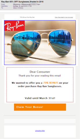 Screenshot of an email with sunglasses spam