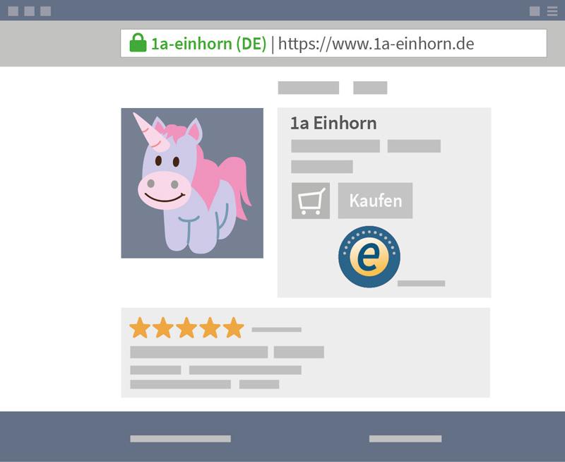 Browserfenster mit Produktwebseite