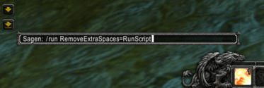Screenshot: The overwriting command in the chat window of the WoW Interface