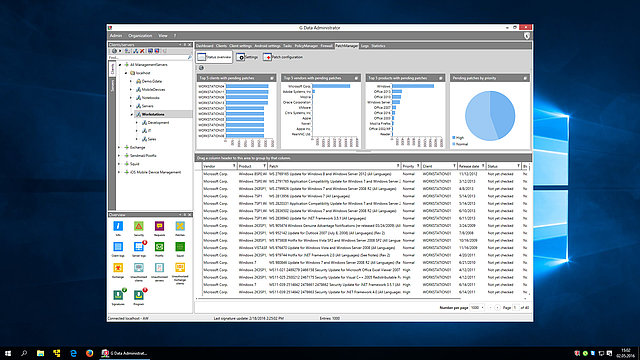 Screenshot G DATA Patch Management – currently available patches at a glance