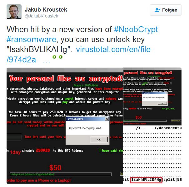 Jakub Kroustek found the hardcoded keys for NoobCrypt.