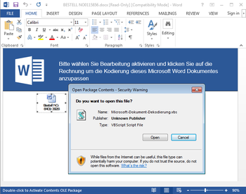 Screenshot: VBS posing as another document, embedded in a DOC file
