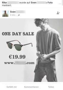 Screenshot of sunglasses spam on Facebook