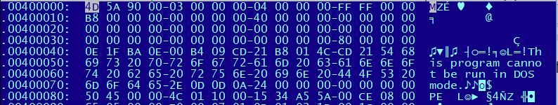 Figure 3: File header of Rozena - note that the MZ header indicates a regular executable file