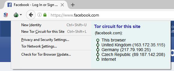 Der Tor-Browser leitet eine Anfrage über mehrere Knotenpunkte.