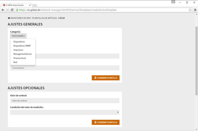 Captura de pantalla de G DATA ActionCenter - crear una plantilla para métricas