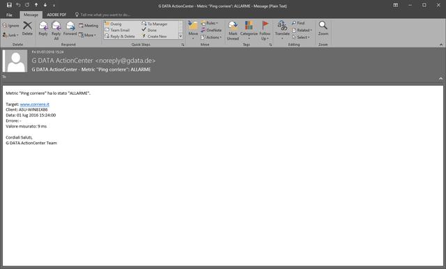 Schermata di G DATA ActionCenter – Allarme via email