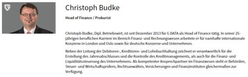 Screenshot der Informationen über Christoph Budke auf G DATAs Homepage