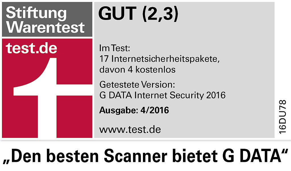 Stiftung Warentest: G DATA Internet Security Hat Den