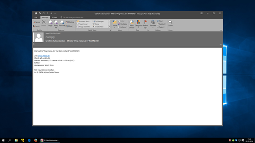 Screenshot G DATA Action Center – E-Mail Alarm