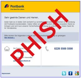 Screenshot einer Phishing E-Mail im Design der Postbank - Zum Vergrößern klicken