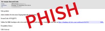 Screenshot einer Phishing E-Mail im Design der UBS Bank - Zum Vergrößern klicken