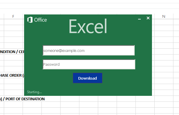 Order turns out to be phishing attack in Excel look