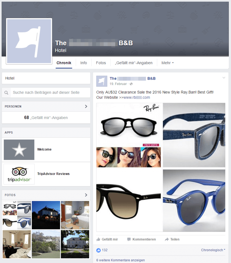 ray ban sunglasses outlet facebook  screenshot of a digital hotel's facebook wall spreading ray ban spam