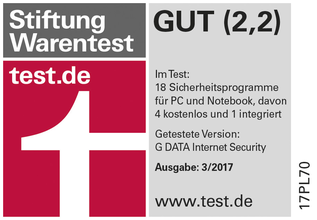 G DATA Internet Security - Bester Virenscanner bei Stiftung Warentest