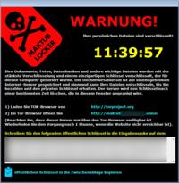 Sperrbildschirm der Maktub-Ransomware