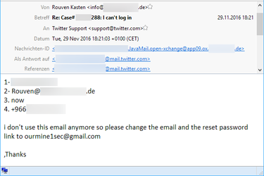 Screenshot einer E-Mail mit Informationen, die OurMine in Rouvens Namen an den Twitter-Support sendet.