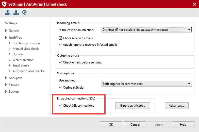 """IMAP scanning can be disabled via the Settings dialog by removing the check mark  """"Check SSL connections""""."""
