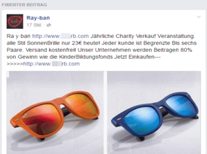 ray ban outlet facebook  screenshot of ads in facebook events, promoting sunglasses shops