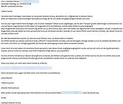 """Betrugs-Email von """"Leutnant Ferrara"""""""