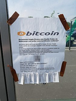Notice posted on a supermarket parking lot