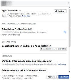 Facebook-Einstellungen: Welche App auf welche Informationen zugreift, kann man hier nachprüfen.