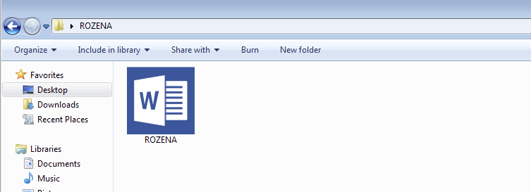 Figure 2: Rozena uses the icon of a Microsoft Word file to disguise itself