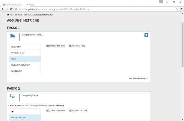 Schermata di G DATA ActionCenter – Aggiunta di metriche
