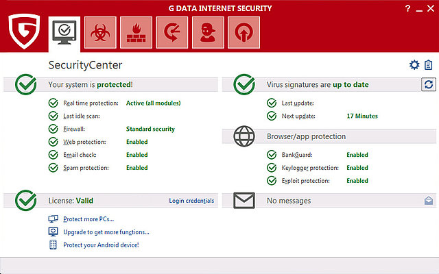in the G DATA Security Center, users can find out how up-to-date their security software is.