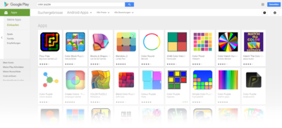 Search for Color Puzzle; the app appears up front
