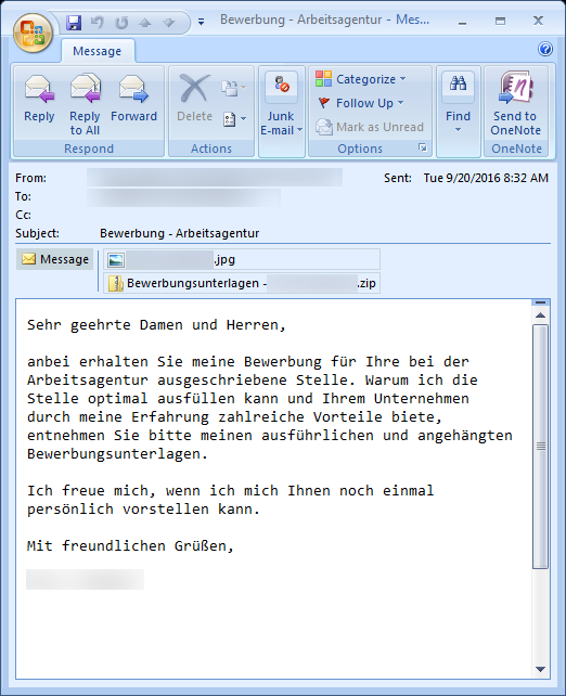 Screen shot: Email with infected attachment