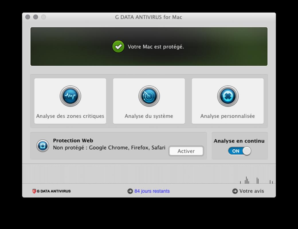 L'interface de G DATA ANTIVIRUS POUR MAC est conçue de façon intuitive.