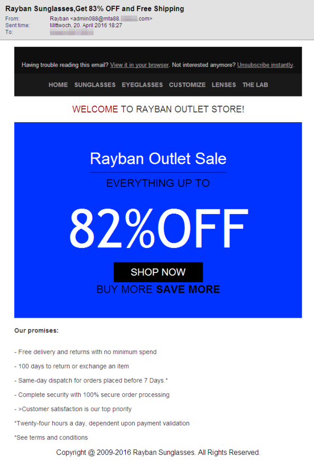 ray ban outlet text  screenshot of an email with sunglasses spam