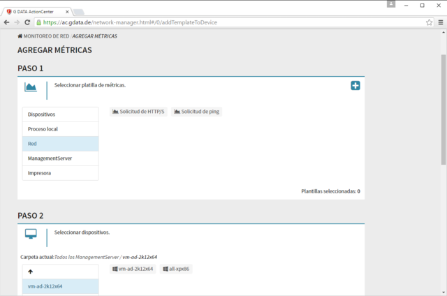Captura de pantalla de G DATA ActionCenter - agregar métricas
