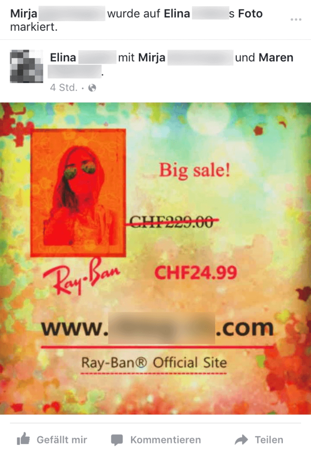 ray ban sunglasses outlet facebook  screenshot of another sunglasses spam message on facebook