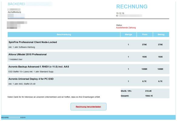 Screenshot einer gefälschten Rechnung für IT-Zubehör, verschickt von einer Bäckerei