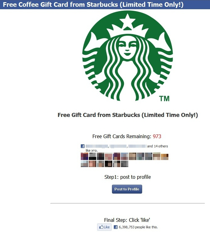 Screenshot of fake Starbucks campaign website in Facebook style