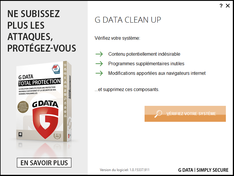 G DATA CLEAN UP
