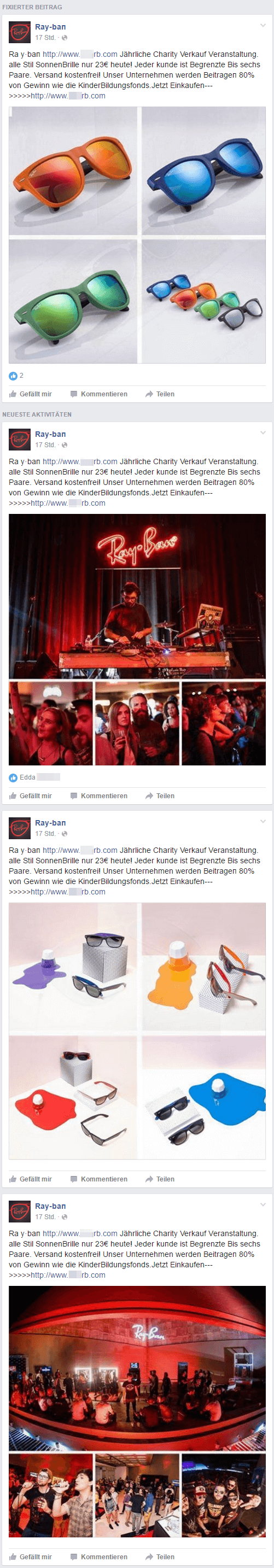 is the ray ban sale on facebook real  screenshot of ads in facebook events, promoting sunglasses shops