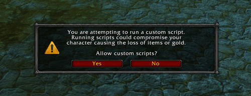 Screenshot: In-game window with warning message regarding the execution of scripts